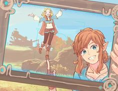 Legend of Zelda Breath of the Wild sequel inspired art > Link taking a selfie photo of him and Princess Zelda > botw 2 The Legend Of Zelda, Legend Of Zelda Memes, Legend Of Zelda Breath, Manga, Link Botw, Princesa Zelda, Botw Zelda, Otaku, Overwatch