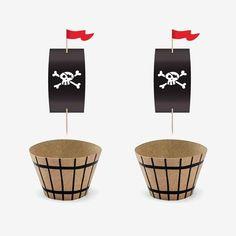 Kit cupcake - Pirate Pirate Birthday, Pirate Party, 7th Birthday, Party Accessories, Birthday Decorations, Birthday Invitations, Kit, Planter Pots, Birthday Display