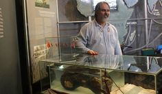 Iziko museum's marine archaeologist Jaco Boshoff displays the encrusted shackles and ballast found in the remains of the Sao Jose - a profoundly significant discovery just  made off Clifton in Cape Town. It's the first discovery of the wreck of a slave ship which went down carrying 400+ slaves in the late 18th century