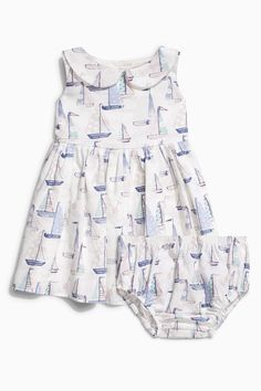 Buy Pink/Green Boat Prom Dress And Matching Knicker Set (0mths-2yrs) from the Next UK online shop