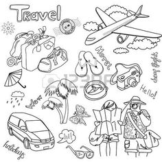 Illustration of Hand drawn travel doodles. vector art, clipart and stock vectors. Doodle Lettering, Hand Lettering, Doodle Drawings, Doodle Art, Doodle Icon, Travel Doodles, Buch Design, Diy Design, Sketch Notes