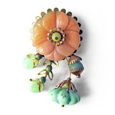 $80.0 Carnelian Flower Brooch by Joli Jewelry