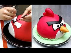 ANGRY BIRD CAKE How To - Birthday Cake Ideas by Cakes StepbyStep. - YouTube