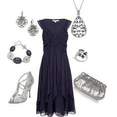 Classy in Silver and Blue, created by medeak on Polyvore