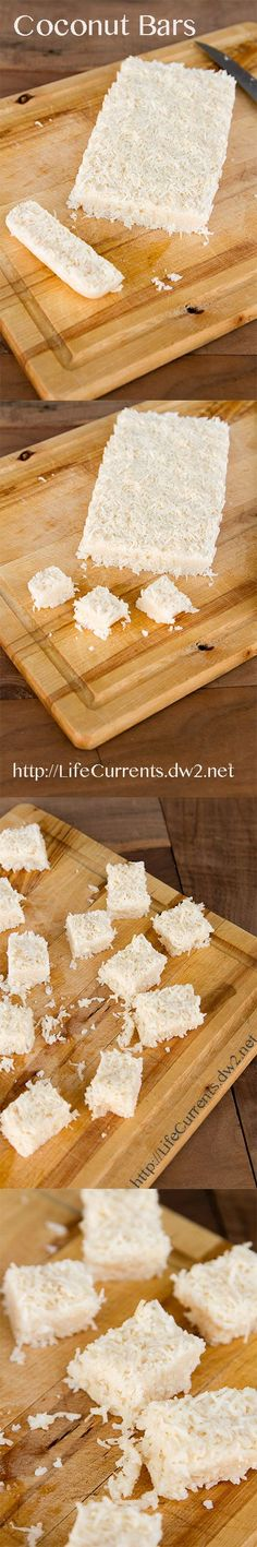 Coconut Bars: they taste like they're filled with naughtiness, but in reality, they're filled with nice!: Coconut Bars: they taste like they're filled with naughtiness, but in reality, they're filled with nice! Paleo Dessert, Dessert Bars, Healthy Desserts, Just Desserts, Dessert Recipes, Candy Recipes, Healthy Tips, Coconut Bars, Coconut Recipes