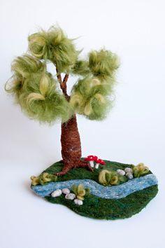 Waldorf inspired needle felted playscape: Tree river door MagicWool
