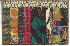 This 4 x 6 postcard was made as a gift,  from me to my friend Kay.  She generously sent me scraps from her gorgeous African quilt projects.  These are some of the fabrics scraps made into a card for her.