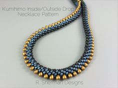 PDF pattern for a Kumihimo necklace featuring inside colors and outside drops.  Reg. $8.00, Now $6.80 (through November 2016)  Pattern is 6 pages and includes pattern variations for a single inside color and for alternating drops, and instructions for finishing two ways. Necklace length is approximately 18. Instructions provided to increase or decrease the length.  Techniques used: 8 warp cord 2-drop Kongo Gumi (beaded round braid), counted Pattern. Prior experience with Kumihimo braiding…