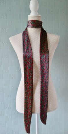 black and white gothic scarf thin skull and crossbones wrap Halloween tie