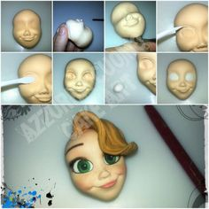 Fondant Face Tutorial, Fondant Figures Tutorial, Cake Topper Tutorial, Fondant Flower Cake, Fondant Bow, Fondant Cake Toppers, Fondant Cakes, Polymer Clay Creations, Handmade Polymer Clay