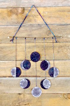 Moon Phases Wool Felt Wall Hanging: Hand Dyed & Stitched, All Natural Moon Art Orange Things orange Clay Crafts For Kids, Wood Crafts, Arts And Crafts, Diy Crafts, Tree Crafts, Cool Diy, Easy Diy, Bar Deco, Felt Wall Hanging