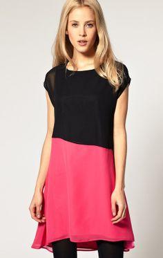 Black Patchwork Pink Loose Dress - Sheinside.com