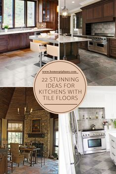 These 22 kitchens all feature tile floors Luxury Kitchen Design, Luxury Kitchens, Kitchen Designs, Home Epiphany, Cabinets And Countertops, Floors Kitchen, Beautiful Kitchens, Home And Living, Interior And Exterior