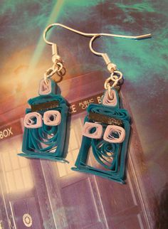 quilled tardis earrings