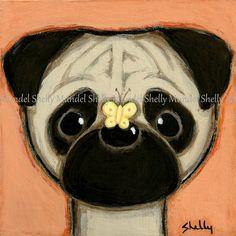 ORIGINAL PAINTING  Pug Dog Folk Art by Shelly by ShellyMundelArt, $50.00