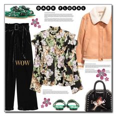 """H&M floral blouse"" by anne-irene ❤ liked on Polyvore featuring Dolce&Gabbana, STELLA McCARTNEY, HM, StellaMcCartney, gucci, floralblouse and darkflorals"
