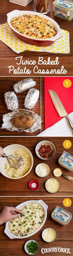We love a twice baked potato, but prepping individual spuds can get unwieldy as guest lists grow. For a party, turn Twice Baked Potatoes—made with the delicious taste & real ingredients of Country Crock® Calcium plus Vitamin D—into a crowd-pleasing casserole. After baking the spuds, hollow them out and put the pulp into a casserole dish with cheese and cooked bacon or ham. Toss with your favorite garnish and bake!