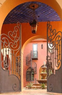 wrought iron gate to courtyard and spiral stairs Entry Gates, Entrance, Entry Doors, Tor Design, Gate Design, Wrought Iron Gates, Metal Gates, Terracota, Garden Gates
