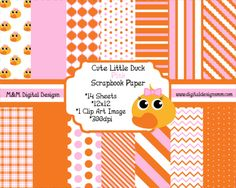 Cute Little Pink Hair Bow Duck Scrapbook Kit INSTANT DOWNLOAD