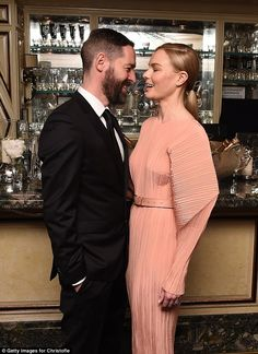 Funny: She was joined by husband Michael Polish at the launch of Idole de Christofle's gol...