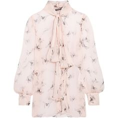 Alexander McQueen Pussy-bow printed silk-crepon blouse ($1,425) ❤ liked on Polyvore featuring tops, blouses, pink silk top, pink top, bow collar blouse, pink blouse and bow neck blouse