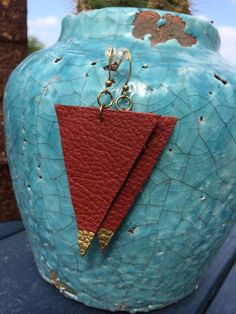 brown leather triangles with gold handpainting & brass findings