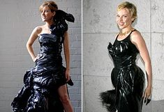 Designs made from trash bags. The three dresses cost a total of $3.76.