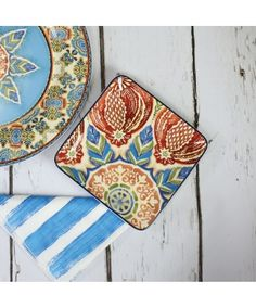 Carraig Donn Delphi Azure Blue Square Plate - Dining Set/Dinnerare #Morrocan #Inspired