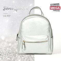 Glimpse of Light!  Ασημί backpack για λαμπερά looks! #shoesmegastores #silver #backpack