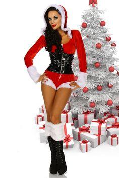 Sexy Nikolaus Weihnachtsfrau Damen Kostüm Set Weihnachtskostüm Weihnachtskleid