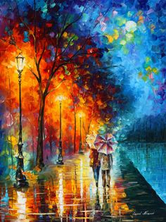 Full of colors and undertints, this piece of romantic wall art by Leonid Afremov is an excellent solution for those looking for a contrast painting or an impressionist painting on canvas. Title: Love by the lake Size: Variable Condition: Excellent Brand new Gallery Estimated Value: $14,500 Type: Original Recreation Oil Painting on Canvas by Palette Knife This is a recreation of a piece which was already sold. Its not an identical copy, its a recreation of an old subject. This recreation ...