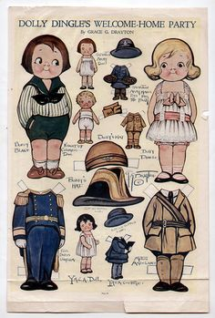 Vintage DOLLY DINGLE'S WELCOME HOME paper dolls March 1919 WWI/Ambulance Uniform   eBay