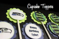 Seahawks Cupcake toppers by Eclectic Events