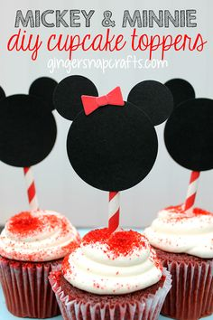 Mickey & Minnie DIY Cupcake Toppers #monthofDisney - Ginger Snap Crafts