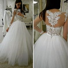Long Tulle Wedding Dress with Appliques and Lace,Ball