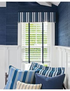 Tailored Upholstered Cornice in Denim Stripe/ Dark Wash 13347