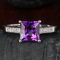 Natural 1.60ct Princess Cut Amethyst Real 14K White Gold Diamond Engagement Ring on Etsy, $458.00