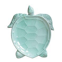 VIETRI Incanto Mare Turtles.    Handmade of terra marrone in Veneto. Microwave, oven, freezer and dishwasher safe.