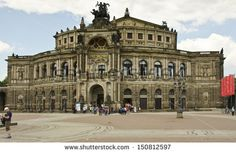 DRESDEN, GERMANY - JUNE 11: the exterior of the Opera House on June 11, 2013 in Dresden, Germany. The Opera House was built in 1841 then rebuilt in 1878 following a fire in 1869.  - stock photo