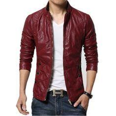 bc4171dea10 Nueva Moda PU Chaqueta de Cuero de Los Hombres Negro Rojo Marrón Mens  Sólidos Abrigos de