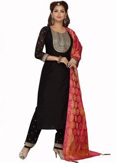 #black #embroidered #readymade #salwar #kameez #traditional #indian #salwar #suit #indianfashion #party #wear #collection #eid #2021 #ootd Pink Color, Top Colour, Color Black, Readymade Salwar Kameez, Chanderi Suits, Straight Cut Pants, Salwar Suits Online, Silk Dupatta, Silk Pants