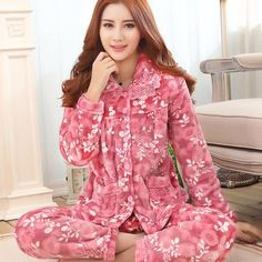 2017 women coral fleece pajamas female spring and winter flannel cotton sleepwear thickening long-sleeve set homewear