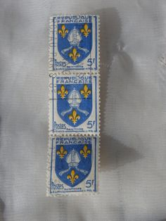 "Strip of 3 Stamps  5f 1954 France Coat of Arms Saintonge.  Blue, white, and yellow.   Use coupon code ""EARLYCHRISTMAS"" to save 15% off of this or anything else in my shop."