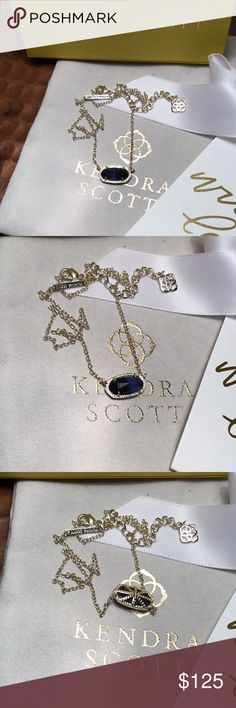 Kendra Scott Rare Navy Cats Eye Elisa Gold Excellent condition  See all my new Kendra Scott, Tory Burch, Lululemon, Alex & Ani, Rustic Cuff and many more listings!   Please note: Box, backs and bag may not be included in listings were applicable.  Authentic Kendra Scott Jewelry Necklaces