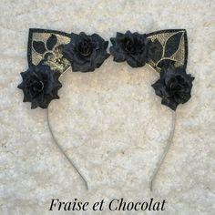 Fleur Chat Oreilles Bandeau Joli Bandeau Festival fleurs Déguisements cheveux métal