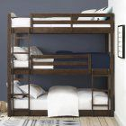 There will be even more room for activities with the Better Homes & Gardens Tristan Triple Bunk Bed - Mocha . These bunk beds are made of solid wood. Bunk Bed Diy, Twin Bunk Beds, Kid Beds, The Loft, Glam Metal, Triple Bunk Beds, Modern Bunk Beds, Bunk Bed Designs, Bed Slats