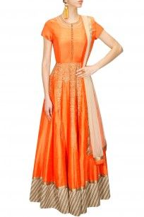 Orange dori embroidered anarkali gown with beige dupatta