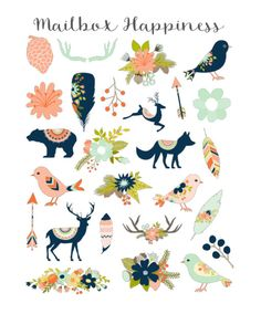 Decorative Stickers Erin Condren Animal Stickers Cute Stickers Tribal Stickers Floral Stickers Feather Stickers (4.00 USD) by MailboxHappiness
