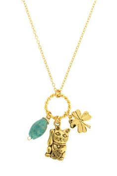Lucky Cat Necklace by LEILA on @HauteLook
