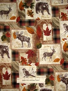 Timeless Treasures Cabin Wildlife Bear Moose Autumn Leaves Cotton Fabric Yard   eBay